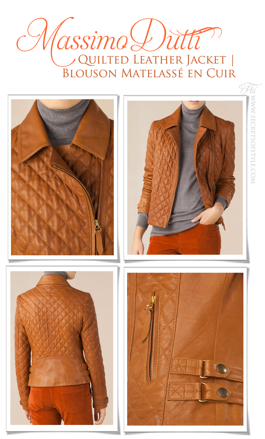 Massimo Dutti Quilted Leather Jacket | Blouson Matelassé en Cuir