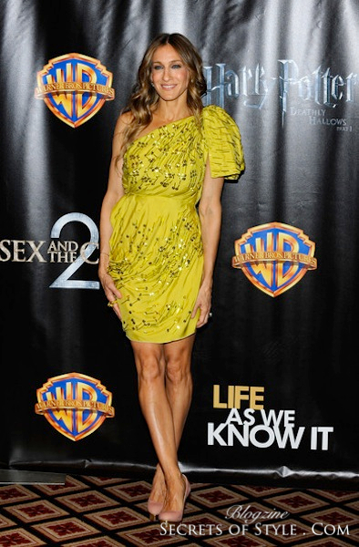 sarah-jessica-parker-and-lanvin-spring-2010-yellow-sequined-one-shoulder-cocktail-dress-gallery-WM
